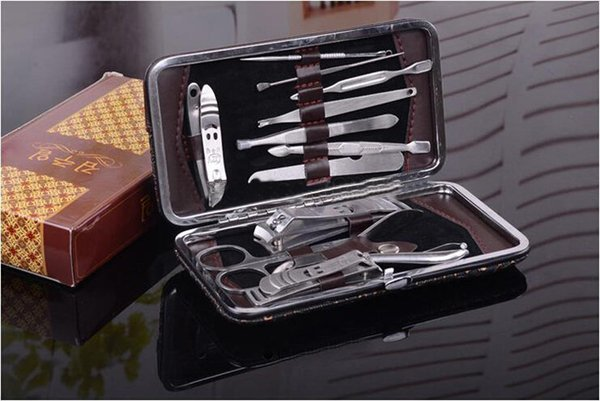 best selling Wholesale-Free Shipping Manicure Set Nail Care Set All-round Nail Scissors Manicure Tool Manicure Kit 12pcs set Hot Sale407