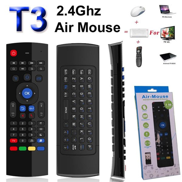 T3 2.4GHz Fly Air Mouse Mini Keyboard IR Learning No Microphone Wireless Remote Control 6-Axis Gyroscope Gamepad for Android TV Box Dongle