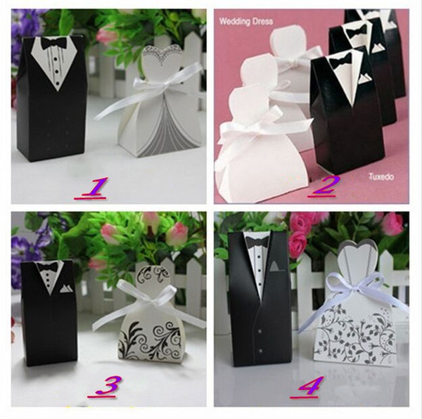 1000pcs=500pairs New Arrival bride and groom box wedding boxes favour boxes wedding favors 6 style free shipping