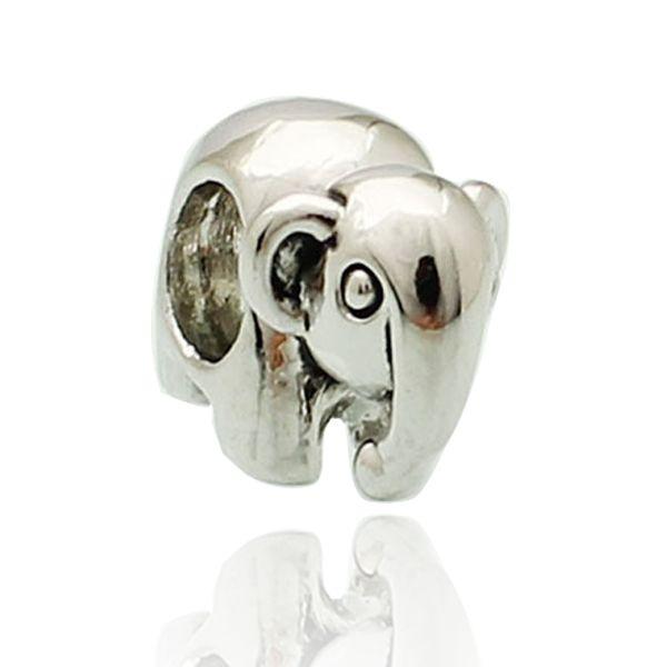 Perle d'animal d'eau d'éléphant de la Thaïlande en argent plaqué couleur rhodié charme européen Fit Pandora