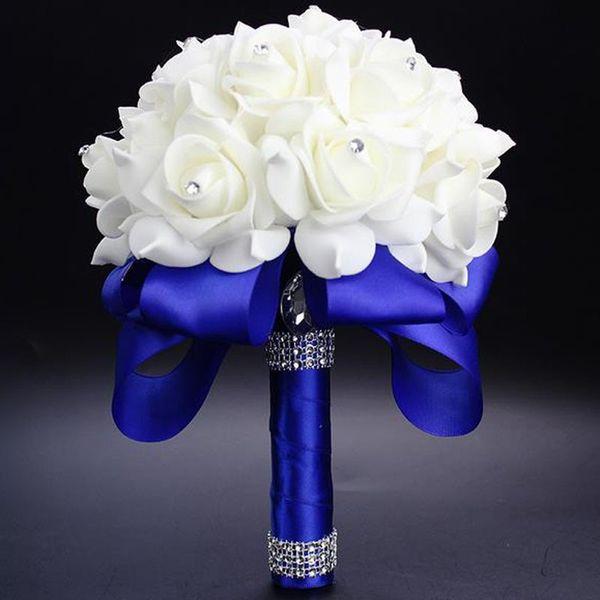 Best Ivory New Bridesmaid Wedding Decoration Foamflowers Rose Bridal bouquet White Satin Romantic Wedding bouquet Cheap Price