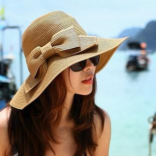 Wholesale-Womens Summer Beach Cap Bowknot Sun Hat Traveling Floppy Straw Hat Wide Brimmed Free Shipping