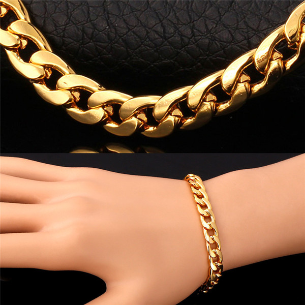 top popular Hot Cuban Link Chain Necklace Bracelet Three Color 18K Real Gold Rose Gold Platinum Plated Fashion Design Men Jewelry Chunky Accessories 2019