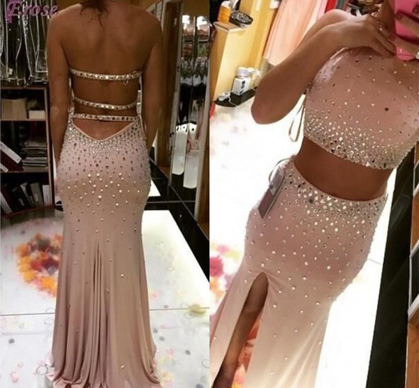 top popular Spring Sparkling Two Pieces Dresses Evening Wear Halter Crystals Beaded Homecoming Dress Mermaid Sexy Split Evening Dresses Cocktail Gown 2020