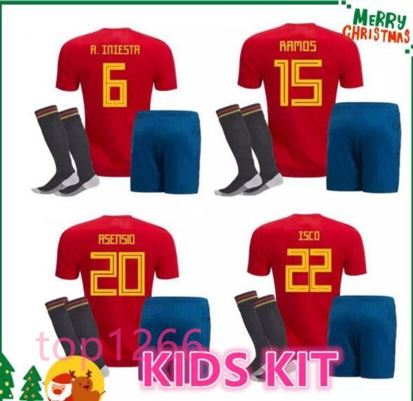 2018 Spain kids kit Jersey ISCO PIQUE SERGIO RAMOS A. INIESTA M. ASENSIO THIAGO MORATA soccer child boy shirt Football uniforms sales Spain