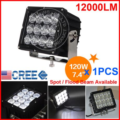 "DHL 1x 7.4"" 120W CREE 12LED*10W Driving Work Light Offroad SUV ATV 4WD 4x4 Spot / Flood Beam 9-60V 12000lm Heavy Truck Forklift SUPER Bright"