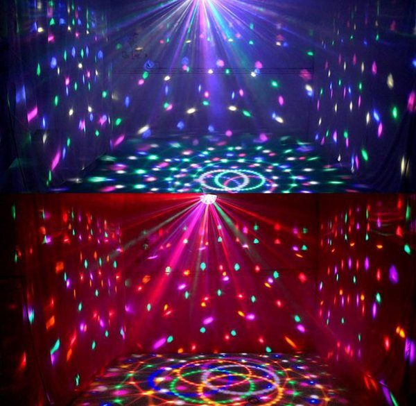 DJ Club Disco KTV Party Bar RGB Crystal LED Ball Projector Stage Effect Light 6 colors Auto&voice-activated Night Light Decor llighting
