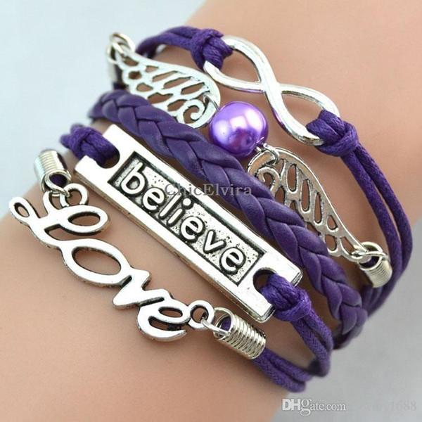 Infinity Braided Fashion Love Believe Bracelet Wing Infinity Bracelets Leather Wrist bands Fashion Wrist bands Charm Jewellery Free