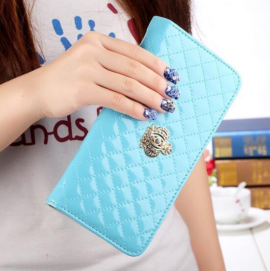 50pcs women purse wallet 2017 fashion classic womens wallets long crown grid credit card coin purses 10 colors