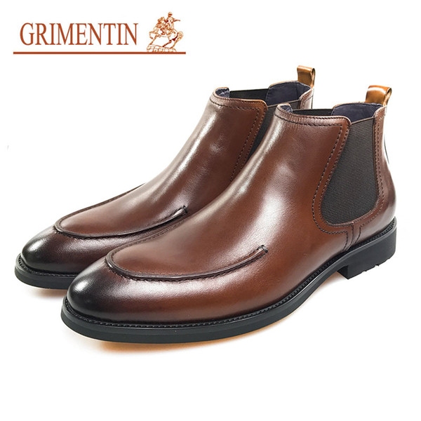 GRIMENTIN Hot sale brand men ankle boots 100% genuine leather slip-on black brown dress mens boots fashion formal business male shoes CG