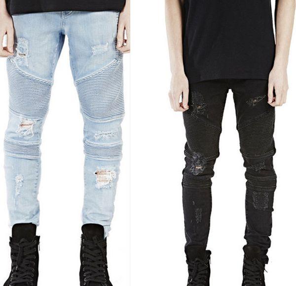 Mens Distressed Ripped Biker Jeans Slim Fit Motorcycle Biker Denim for Men Brand Designer Hip Hop Mens Jeans Cool Hole Streetstyle Pants