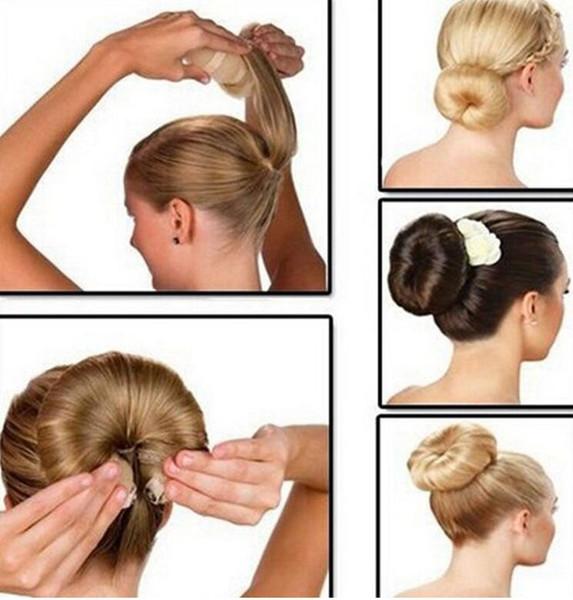 Venda quente Moda Ferramentas de Cabelo Elegante Estilo Magia Buns Cabelo Corda 3 Cores Hairband Acessórios Para o Cabelo (1 pack = 1 pc pequeno + 1 pc grande)