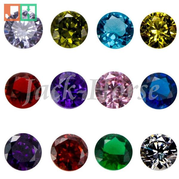 best selling High quality CZ birthstone charms, locket charm, round floating locket birthstone