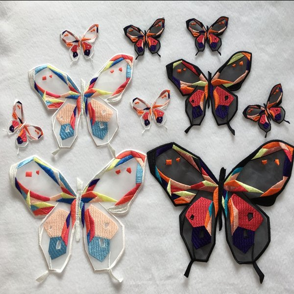 BUTTERFLY BLACK//ORANGE EMBROIDERED IRON ON APPLIQUE PATCH