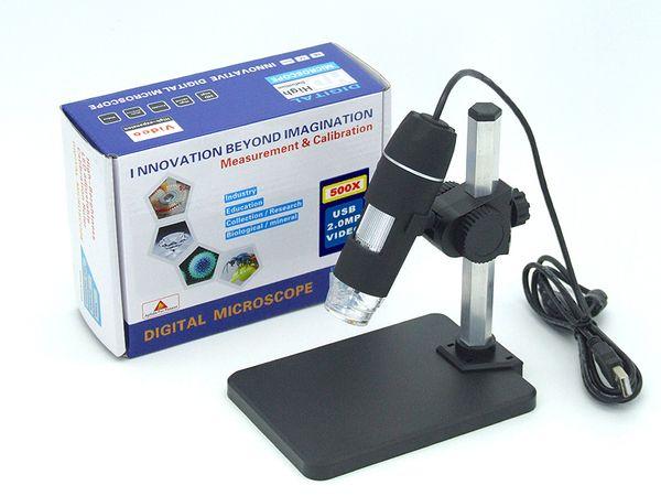 Microscopio digitale USB con zoom continuo da 1x a 500x (nuovo) per riparazione elettronica, endoscopio a 8 LED con software di misurazione