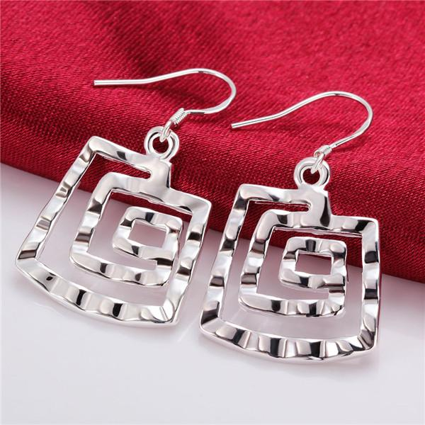 Brand new sterling silver plated Square thread earrings DFMSE344,women's 925 silver Dangle Chandelier earrings 10 pairs a lot factory direct