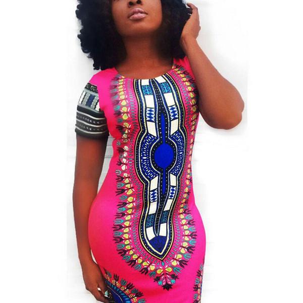 Atacado-2016 novo vestido de verão Sexy Mini Africano Tranditional impressão Dashiki vestido senhoras vestidos Folk Art mulheres africanas vestem roupas