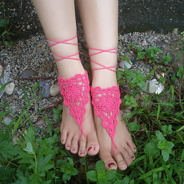 1 Pair OR 2 PCS white wedding crochet barefoot sexy sandals sandal foot jewelry feet accessory wedding bridesmaid foot thong anklet