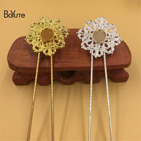 BoYuTe 5Pcs 12MM Copper Cabochon Base Setting Silver Gold Kanzashi Hair Stick Women Diy Hair Accesories