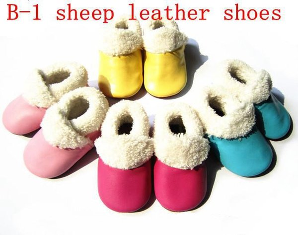 free UPS fedex infant winter fur boots Baby genuine leather upper cow suede sole kids 10 candy color boots