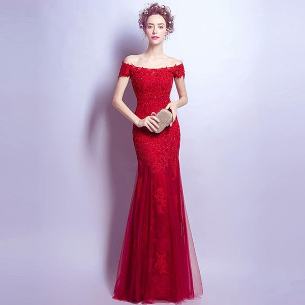 1ac476e23e8 OFF SHOULDER free shipping lace-up Elegant beautiful red lace flowers  mermaid Wedding Dresses vestidos. Sold Out