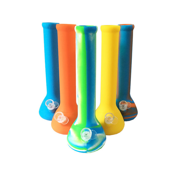 Bong Water Pipe Colorful Silicone Bong Skull Base 338 Mm Food Grade Unbreakable Silicone Smoking Pipe With Glass Bowl