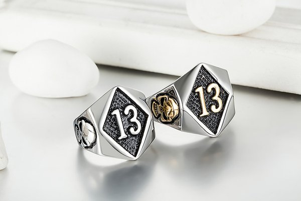 Wholesale- 316L Stainless Steel Silver Biker 13 Ring Mens Motorcycle Biker Band Party Mens Ring Standard Shipping