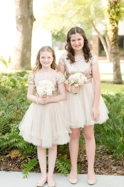 Rose Gold Sequins 2019 Junior Bridesmaid Dresses Jewel Short Sleeves Full Back Pageant dresses For Girls Tulle Formal Dress Custom Made