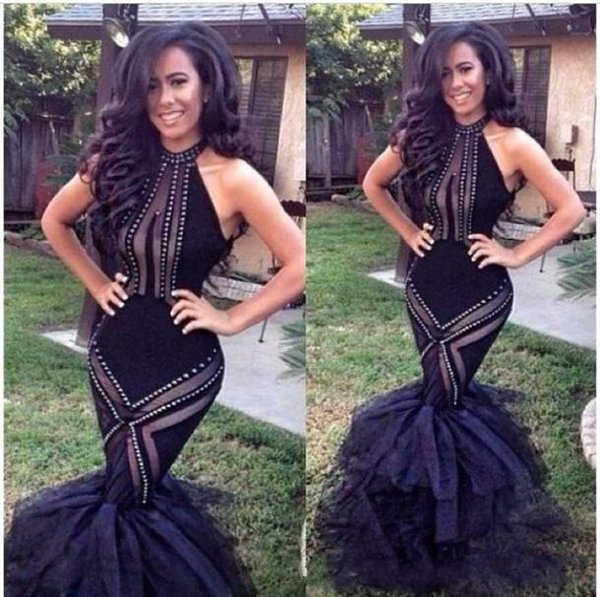 Black Halter Bodice Mermaid Prom Dresses Trumpet Organza Formal Evening Gowns with Ruffles Beading Backless Celebrity Vestidos