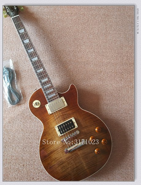2017 Tiger Flame Maple Top Custom Shop Brown Standard Mahogany Body No Scarf Neck 1959 R9 Electric Guitar Free Shipping