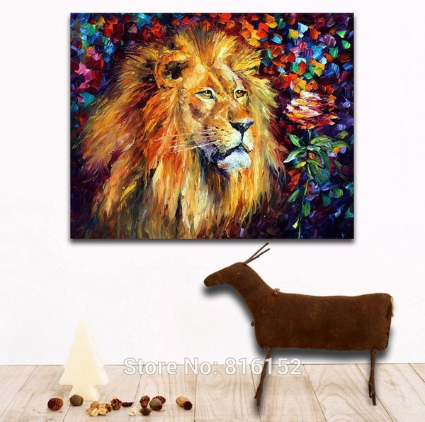 Lion the King of Forest Palette Knife Oil Painting Canvas Prints Wild Animals Mural Art Picture Home Living Room Wall Decor