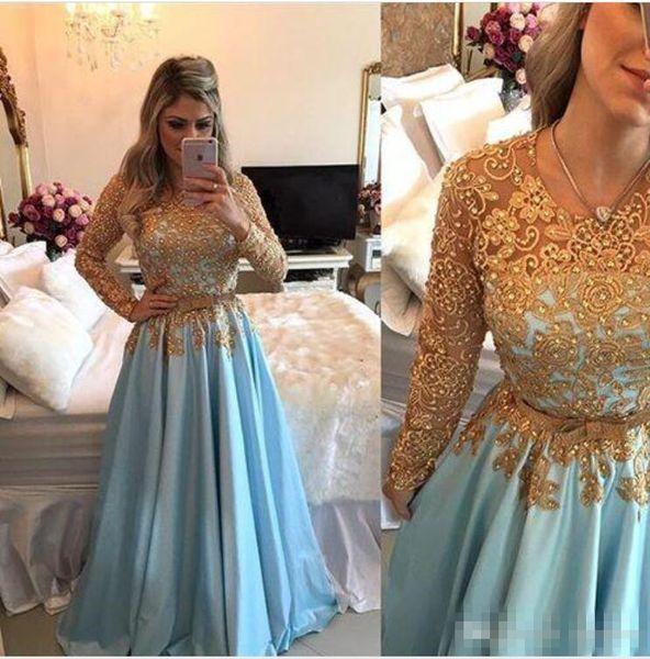 Charming Light Blue Gold Lace Evening Dresses Long Sleeve Vestidos De Festa Longo beaded belt middle east arabic Prom Party Gown Dress 2017