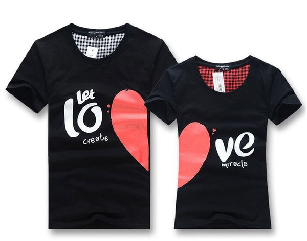Wholesale-Men women fashionable couple t shirt tops for 2015 lovers summer heart shape cotton casual clothes For Lover's Clothing