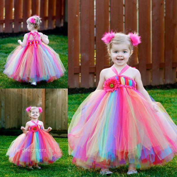 Abiti colorati per ragazze in fiore arcobaleno Scollatura al ginocchio Lunghezza caviglia colorata Tulle Ball Gown Little Kids Baby Girls Pageant Dress Party Gowns