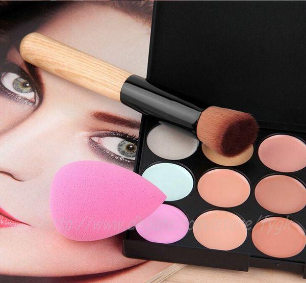 Hot Sale 15 Colors Contour Face Cream Makeup Foundation Concealer Palette Powder Brush + Puff Set& Kit