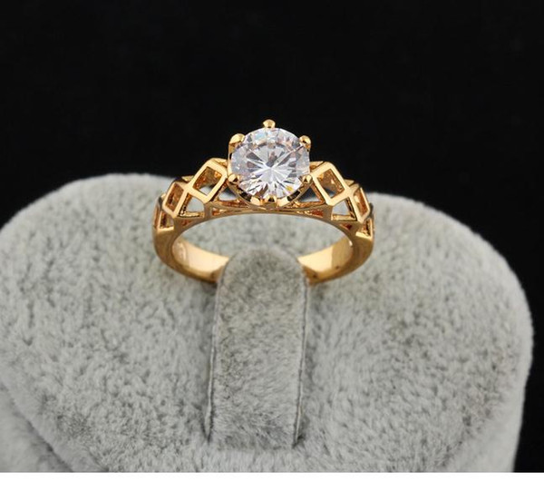 2015 New 18K gold plated big diamond wedding rings for women
