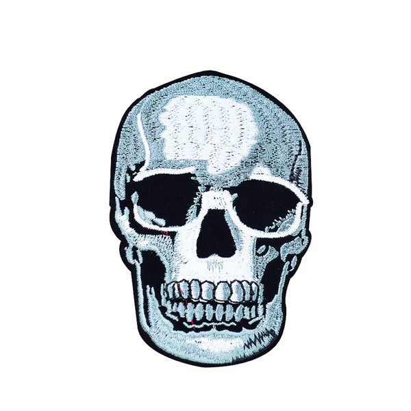 best selling Skull Motor Patches for Clothing Iron on Transfer Applique Patch for Jacket Jeans DIY Sew on Embroidered Badge 1pcs