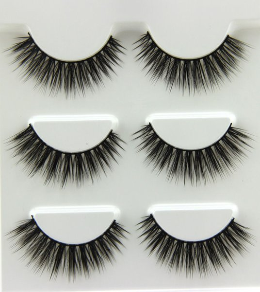 Wholesale- 3Pairs NEW!!! Natural Long 3D Eye Lashes Makeup Handmade Thick False Eyelashes Extension Tools