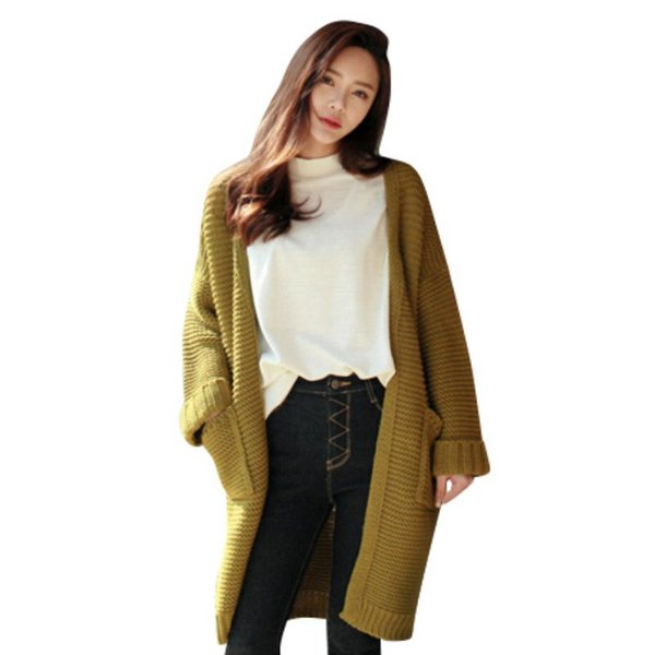 Wholesale- New fashion Winter hot sale Women long Thick Knitted Sweater ladies Knitwear Cardigan Coat Outwear