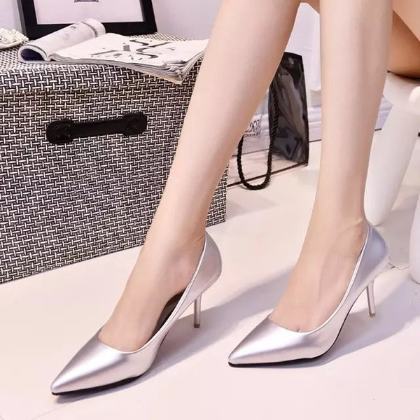 -Fall 2015 the new temperament shallow silver pointed shoes high heel stiletto shoes sexy fashion