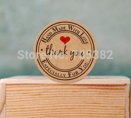 Toptan-Güzel yuvarlak teşekkür ederim mektubu dekorasyon etiket, mühür Etiketler, hediye yapışkanlı etiket (ss-1551)