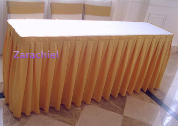 2018 75cm height ice silk wedding stage table skirt for table cloth
