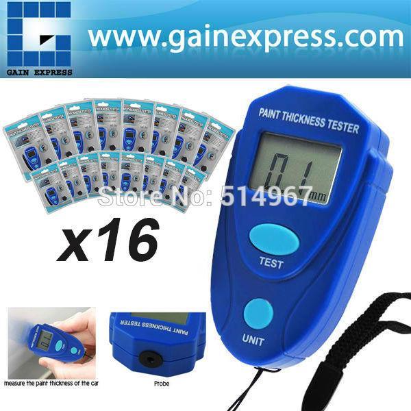 All'ingrosso-16 pezzi x Digital Mini Spessimetro rivestimento Vernice auto Vernice Spessore Tester del tester 0 ~ 2.0mm Smalto Epossidico di plastica, lotto 16