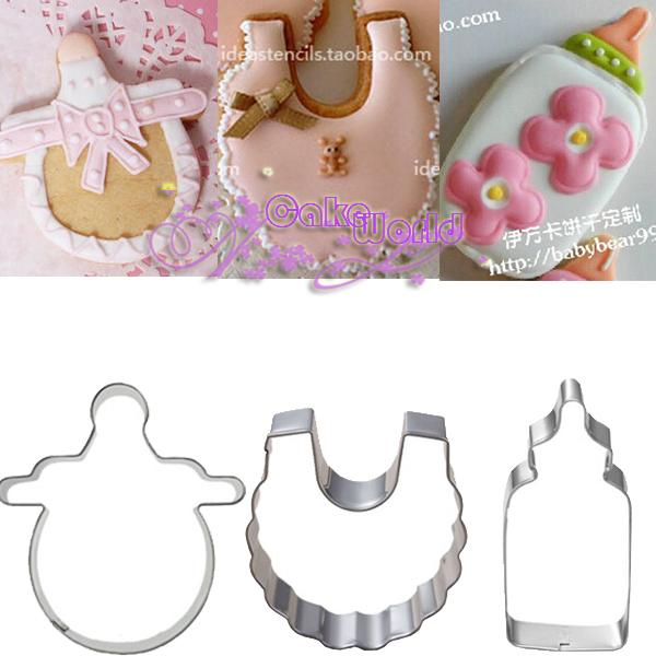 Baby Nipple Feeder Shawl Stainless Steel Cookie Cutter Fondant Sugar Cake Decoration Tool Betro Sandwich Molds Metal Mould Cooking Tools