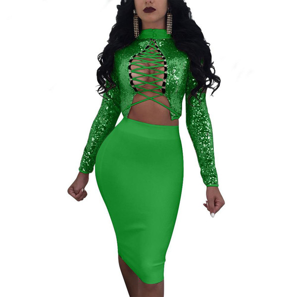 Lace up sequins bandage dress suit 2018 summer Long Sleeve 2 piece set women Sequin crop top and skirt Ladies sexy Nightclub wear set
