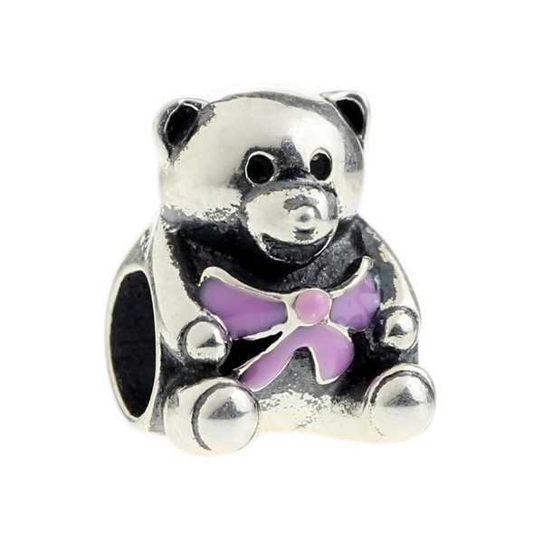 Beads Hunter Jewelry Authentic 925 Sterling Silver Teddy Bear With Purple Bow s925 Charm big hole bead For 3mm European Bracelet snake chain