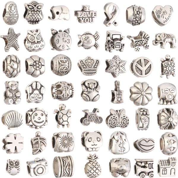 best selling Mix 29 Style Big Hole Loose Beads charm For Pandora DIY Jewelry Bracelet For European Bracelet&Necklace