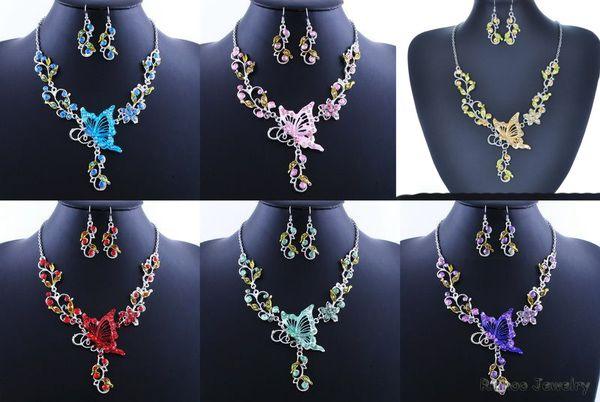 6 Colores Mujeres Flor de Mariposa Rhinestone Colgante Collar Llamativo Pendientes Conjunto de Joyas Joyería de Moda Vestido de Novia de Boda Conjuntos de Joyas