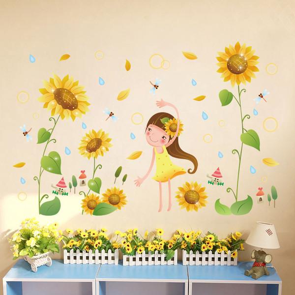 Sunflower girl wall stickers for kids rooms nursery baby bedroom children decals art vinyl murals diy home decoration