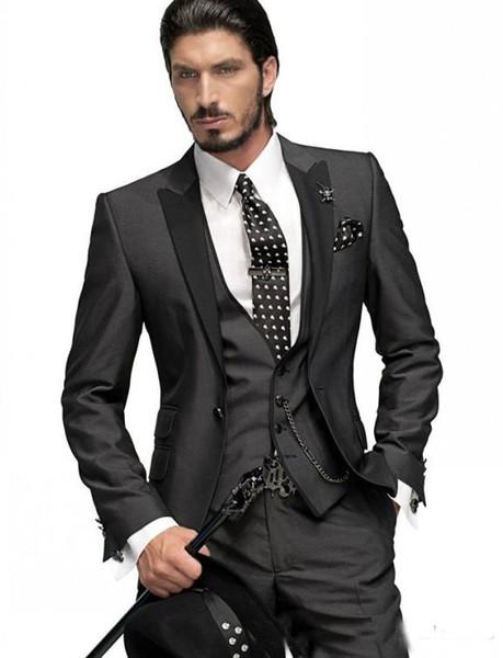 Горячая продажа индивидуальные свадебные костюмы темно-серый жених смокинги красивый костюм вечерние костюмы Шафер жених костюмы (куртка+брюки+жилет)